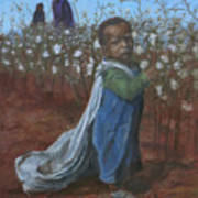 Baby Picking Cotton Poster