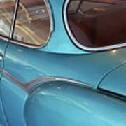 Back Side Of A Blue Vintage Car  Poster