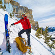 Backcountry Skier Preps For Ice Climbing On Cobb Peak In Idaho Poster