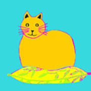 Background Colour Choice Saffron Cat Poster
