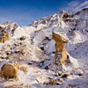 Badlands Hoodoo In The Snow Poster