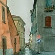 Bagnoregio Street In The Rain Poster