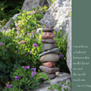 Balancing Stones With Tao Quote Poster by Heidi Hermes