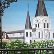 Balcony View Of St Louis Cathedral Poster