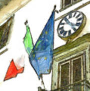 Balcony With Flags And Clock Poster