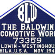 Baldwin Diesel Builders Plate Poster