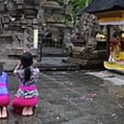 Bali Temple Women Bowing Panoramic Poster