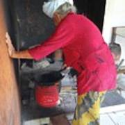 Balinese Lady Roasting Coffee Leans Again Wall Poster