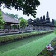 Balinese Temple With Flower Poster