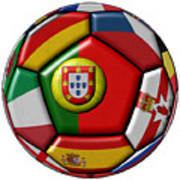 Ball With Flag Of Portugal In The Center Poster