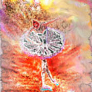 Ballerina Bowing With Flowers Poster