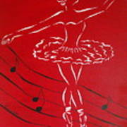 Ballerina In Red Poster