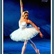 Ballerina On Stage L A With Alt. Decorative Ornate Printed Frame.  Poster
