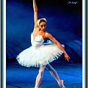 Ballerina On Stage L A With Decorative Ornate Printed Frame. Poster
