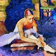 Ballerina Preparing For Performance Poster