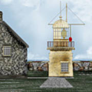 Ballinacourty Lighthouse At Waterford Ireland Poster