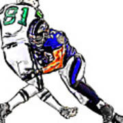 Baltimore Ravens  Ray Lewis - New York Jets Dustin Keller Poster by Jack K
