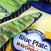 Banana Leaf Series - Blue Plate Mayo Poster by Terry J Marks Sr