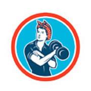 Bandana Woman Lifting Dumbbell Circle Retro Poster