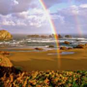 Bandon Beach Rainbow Sunrise Poster by Ed  Riche