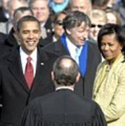 Barack Obama Is Sworn In As The 44th Poster by Everett