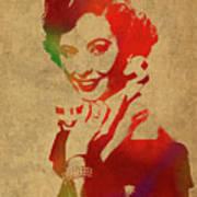 Barbara Stanwyck Watercolor Portrait Poster