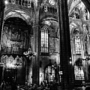 Barcelona Cathedral Interior Bw Poster