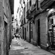 Barcelona Small Streets Bw Poster