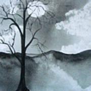 Bare Tree In Moonlight Poster