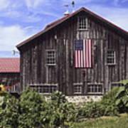 Barn And American Flag Poster