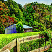 Barn And Fence In Tall Grass Poster
