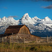 Barn And Snow Capped Tetons Poster