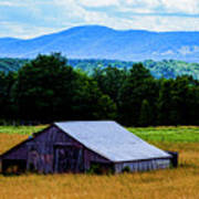 Barn Below Trees And Mountains Poster