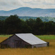 Barn Below Trees And Mountains In Artistic Version Poster