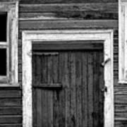 Barn Door And Windows Bw Poster