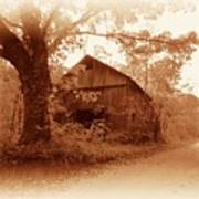 Barn Hocking Co Ohio Sepia Poster