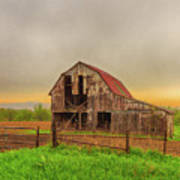 Barn In The Cloudy Sky Poster
