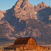 Barn In The Tetons One Poster