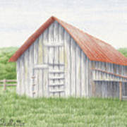 Barn Near Forest Poster