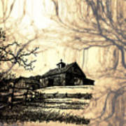 Barn Out Back 2 Poster by Cheryl Young