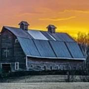 Barn Sunset Poster