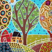 Barn Trees And Garden Poster by Karla Gerard