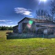 Barn With Sun Flare Poster