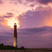 Barnegat Lighthouse Stormy Sunset Poster