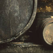 Barrels Of Wine In A Wine Cellar. France Poster