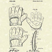 Baseball Glove 1910 Patent Art Poster by Prior Art Design
