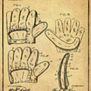 Baseball Glove Patent 1910 Sepia With Border Poster