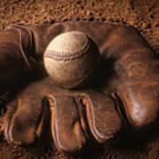 Baseball In Glove Poster by John Wong