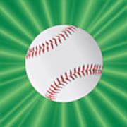 Baseball Over Green Poster