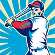 Baseball Player Batting Retro Poster